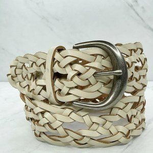 White Wide Braided Woven Leather Belt